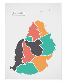 Poster  Mauritius map modern abstract with round shapes - Ingo Menhard