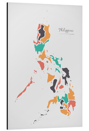 Tableau en aluminium  Philippines map modern abstract with round shapes - Ingo Menhard