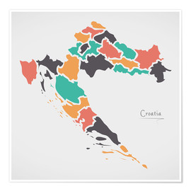 Poster  Croatia map modern abstract with round shapes - Ingo Menhard