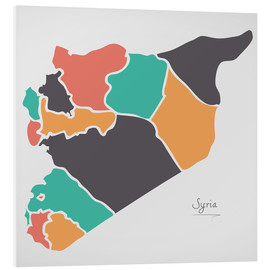Tableau en PVC  Syria map modern abstract with round shapes - Ingo Menhard