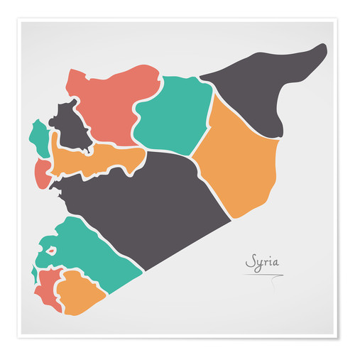 Poster Syria map modern abstract with round shapes