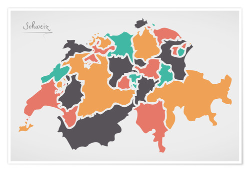 Poster Switzerland map modern abstract with round shapes