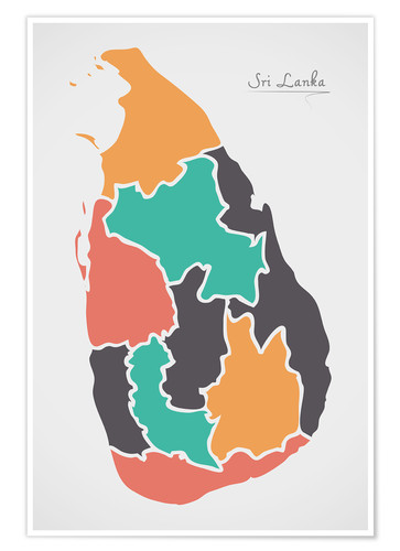 Poster Sri Lanka map modern abstract with round shapes