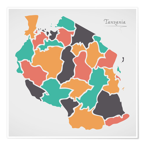 Poster Tanzania map modern abstract with round shapes