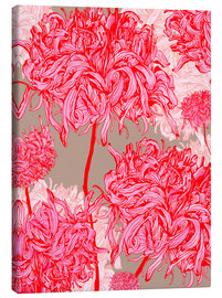Toile  Pretty in pink chrysanthemum - Ella Tjader