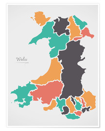 Poster Wales map modern abstract with round shapes