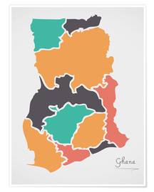 Poster Ghana map modern abstract with round shapes