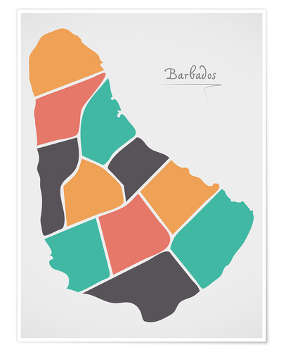 Poster Barbados map modern abstract with round shapes