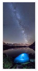 Poster Panoramic of Milky Way on Mont Blanc, France
