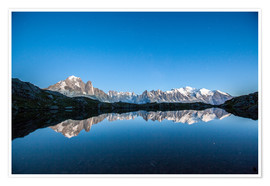 Poster Mont Blanc reflected in Lacs des Chéserys, France