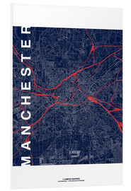 Tableau en PVC  Manchester Map Midnight Map - campus graphics