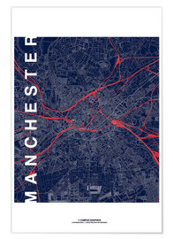 Poster Manchester Map Midnight Map