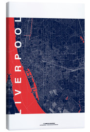Tableau sur toile  Liverpool Map Midnight City - campus graphics