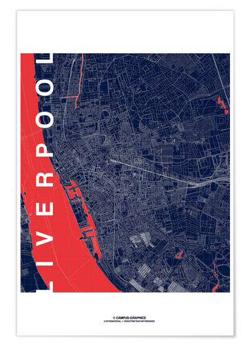 Poster Liverpool Map Midnight City