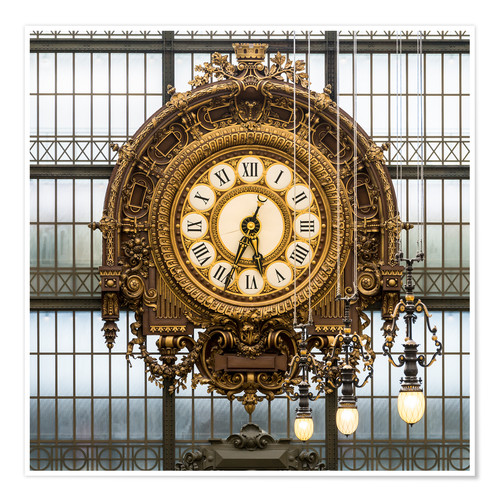 Poster Big clock at the Musee d'Orsay in Paris, France