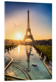 Verre acrylique  Romantic sunrise at the Eiffel Tower in Paris, France - Jan Christopher Becke