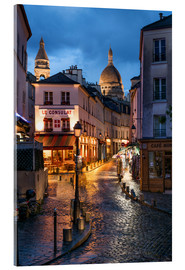 Verre acrylique  Street in Montmartre with Basilica of Sacre Coeur, Paris, France - Jan Christopher Becke