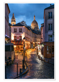 Poster  Street in Montmartre with Basilica of Sacre Coeur, Paris, France - Jan Christopher Becke