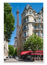 Poster Eiffel tower with street cafe in Paris, France