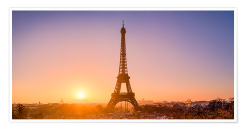 Poster City view with Eiffel Tower, Paris, France