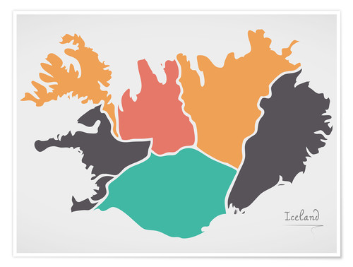 Poster Iceland map modern abstract with round shapes