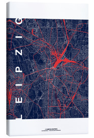Tableau sur toile  Leipzig Map Midnight city - campus graphics