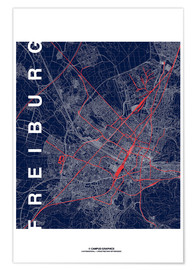 Poster Freiburg Map Midnight City