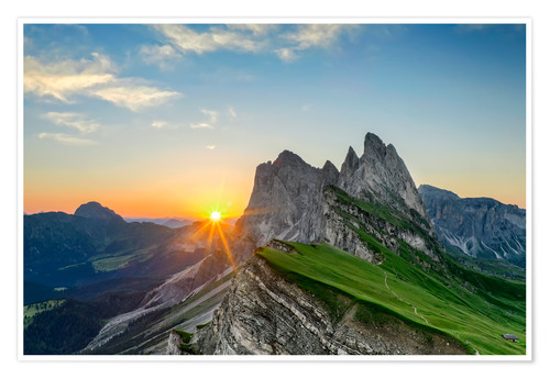 Poster Sunrise on Seceda with Geisler group