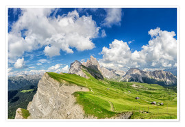 Poster  Alps panorama on Seceda with Mount Geisler - Dieter Meyrl
