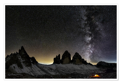 Poster Lonely Tent under Milky way over Tre cime - Dolomites