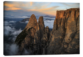 Tableau sur toile  Aerial view of Punta Santner, Sciliar, South Tyrol, Italy - Roberto Sysa Moiola