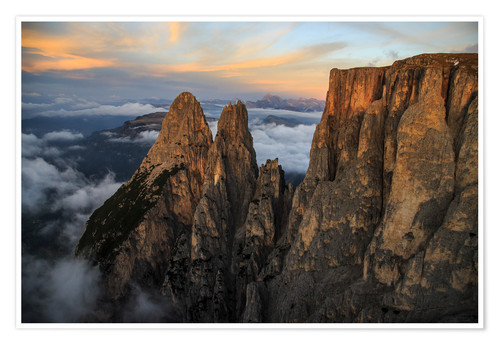 Poster Aerial view of Punta Santner, Sciliar, South Tyrol, Italy