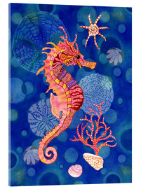 Tableau en verre acrylique  Seahorse in the blue - Janet Broxon