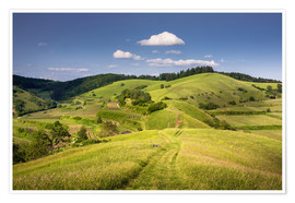 Poster Hills and clouds in summer, Kaiserstuhl, Germany