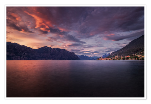 Poster Sunset at Lake Garda with view on Malcesine