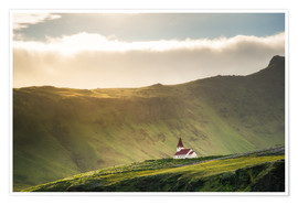Poster Church in the light, Iceland