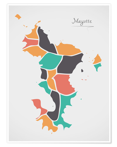 Poster Mayotte map modern abstract with round shapes