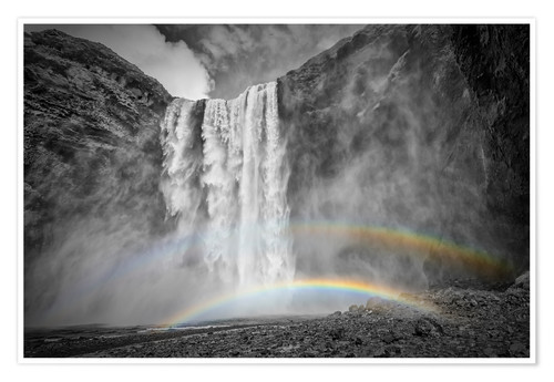 Poster ICELAND Skogafoss with a double rainbow