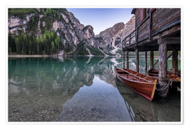 Poster Lago di Braies, Dolomite Alps, South Tyrol