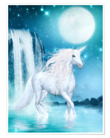 Poster  Unicorn - Waterfalls and Moon - Dolphins DreamDesign