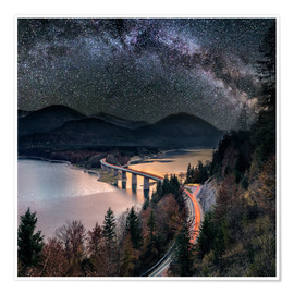 Poster  Milky Way at Lake sylvester - Sylvensteinspeicher at Autmun - Dieter Meyrl