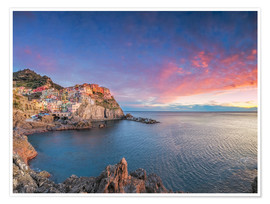 Poster Manarola at dawn, Cinque Terre National Park, Liguria, Italy