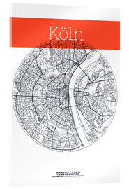 Verre acrylique  Cologne city map - campus graphics