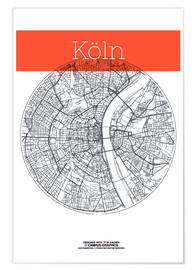 Poster  Cologne city map - campus graphics