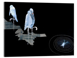 Tableau en verre acrylique  Three Storks and a Frog in a Pond - Jean Dunand