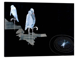 Tableau en aluminium  Three Storks and a Frog in a Pond - Jean Dunand