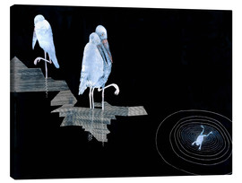 Tableau sur toile  Three Storks and a Frog in a Pond - Jean Dunand