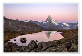 Poster Matterhorn reflected in Lake Stellisee, Switzerland