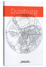 Toile  Duisburg map city black and white - campus graphics