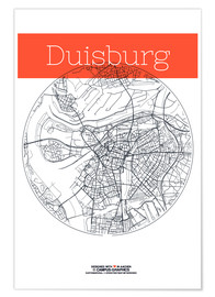 Poster  Duisburg map city black and white - campus graphics